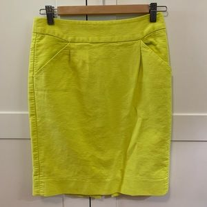 J.Crew neon yellow pencil skirt